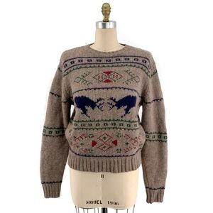 Vintage Lands' End Wool Reindeer Chunky Sweater